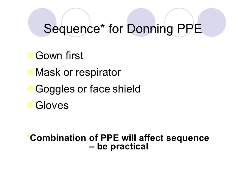 Key Points About PPE Don before contact with the patient, generally before entering the room Use carefully – don't spread contamination Remove and discard carefully, either at the doorway or immediately outside patient room; remove respirator outside room Immediately perform hand hygiene