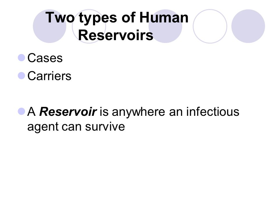 Three Common Reservoirs Common reservoirs associated with nosocomial infections : a.Patients b.Health care workers c.Health care equipment and environment