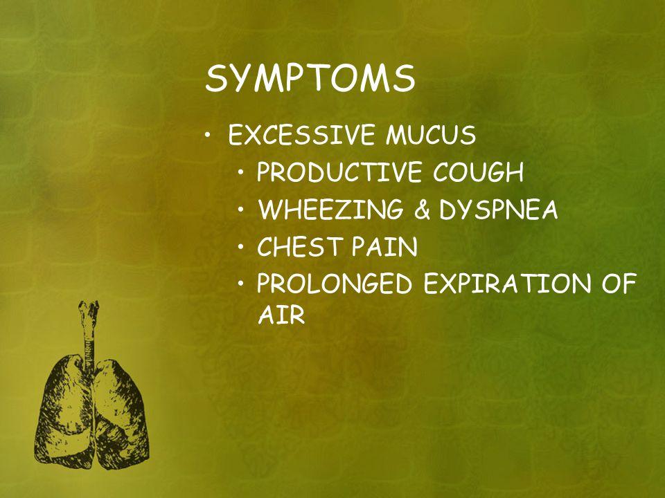 SYMPTOMS EXCESSIVE MUCUS PRODUCTIVE COUGH WHEEZING & DYSPNEA CHEST PAIN PROLONGED EXPIRATION OF AIR