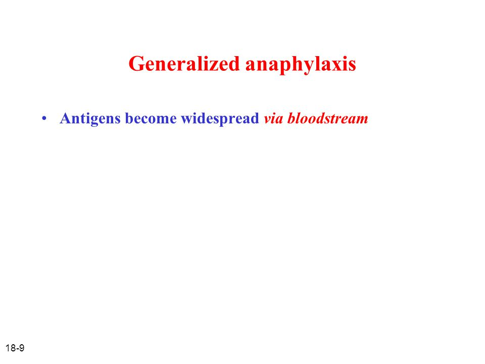 18-10 Generalized anaphylaxis Antigens become widespread Shock (reduced blood pressure) – loss of fluid from blood vessels into tissues