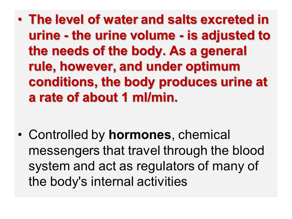 The level of water and salts excreted in urine - the urine volume - is adjusted to the needs of the body. As a general rule, however, and under optimu