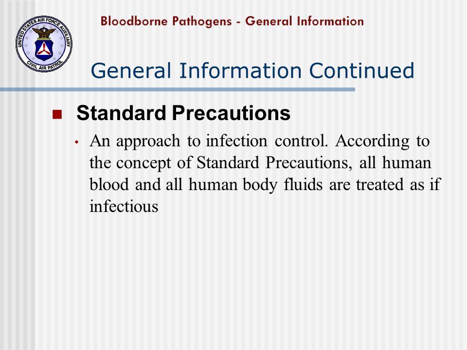 More About Bloodborne Pathogens Bloodborne Pathogens include: Human Immunodeficiency Virus (HIV) Hepatitis Viruses Meningitis Tuberculosis As well as agents that cause...