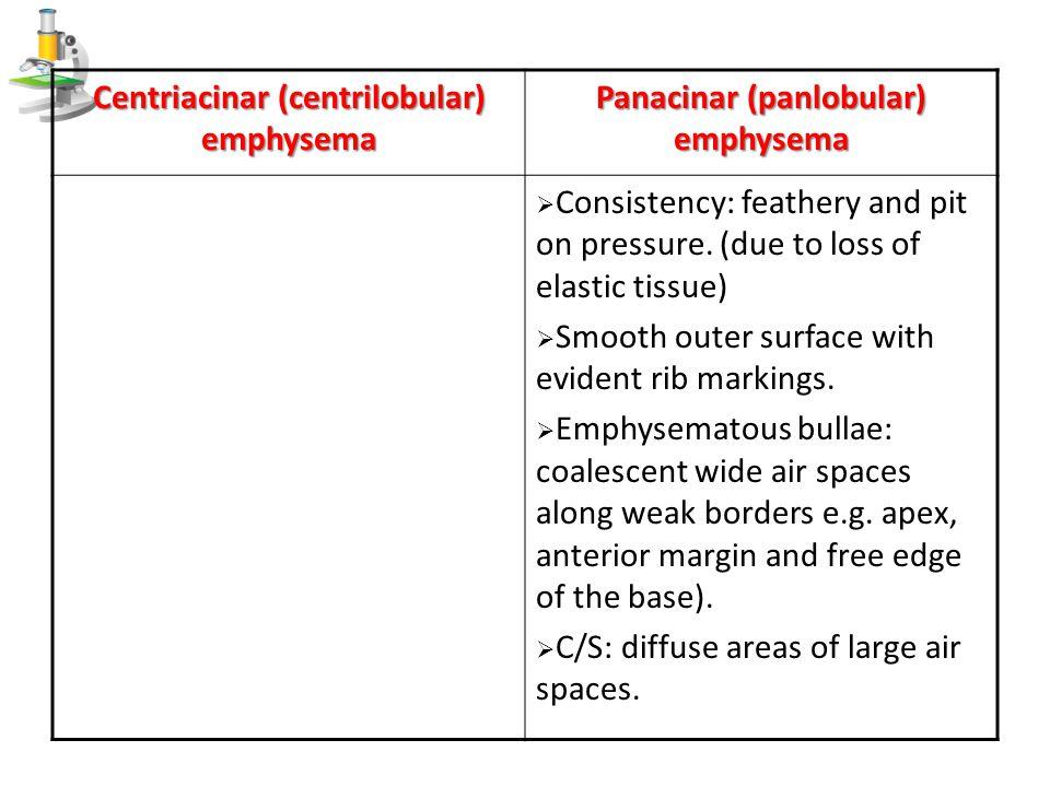 Panacinar (panlobular) emphysema Centriacinar (centrilobular) emphysema  Consistency: feathery and pit on pressure. (due to loss of elastic tissue) 