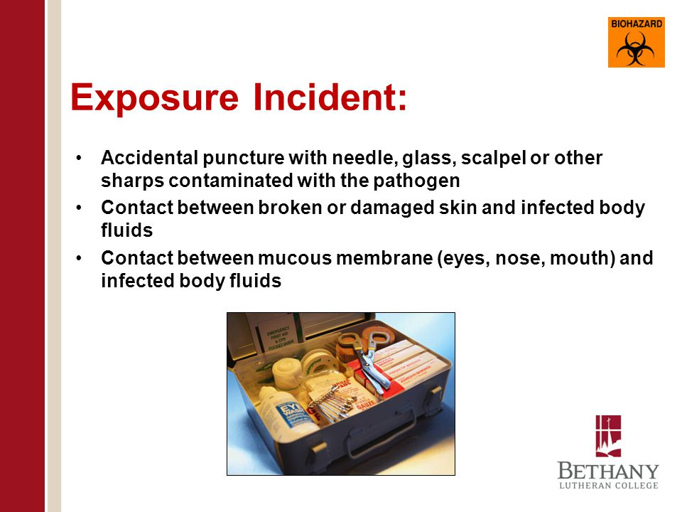 Occupational Exposure: Reasonably anticipated skin, eye, mucous membrane, or parenteral contact with blood or OPIM that may result from the performance of the employee's duties.