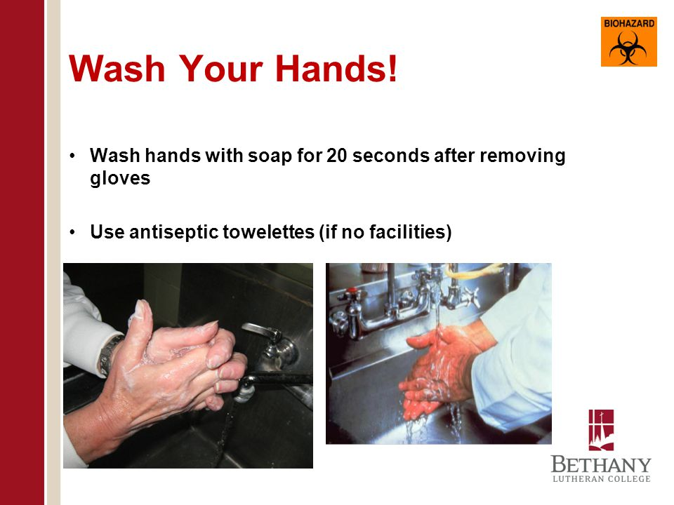 Use Universal Precautions When Handling Blood or Other Potentially Infectious Material (OPIM) Wear gloves and other appropriate protective gear Wash hands after removing gloves Use sharps containers for all sharps Dispose of all waste materials properly Do not pipette by mouth Do not eat or drink in area Do not apply cosmetics or handle contact lenses