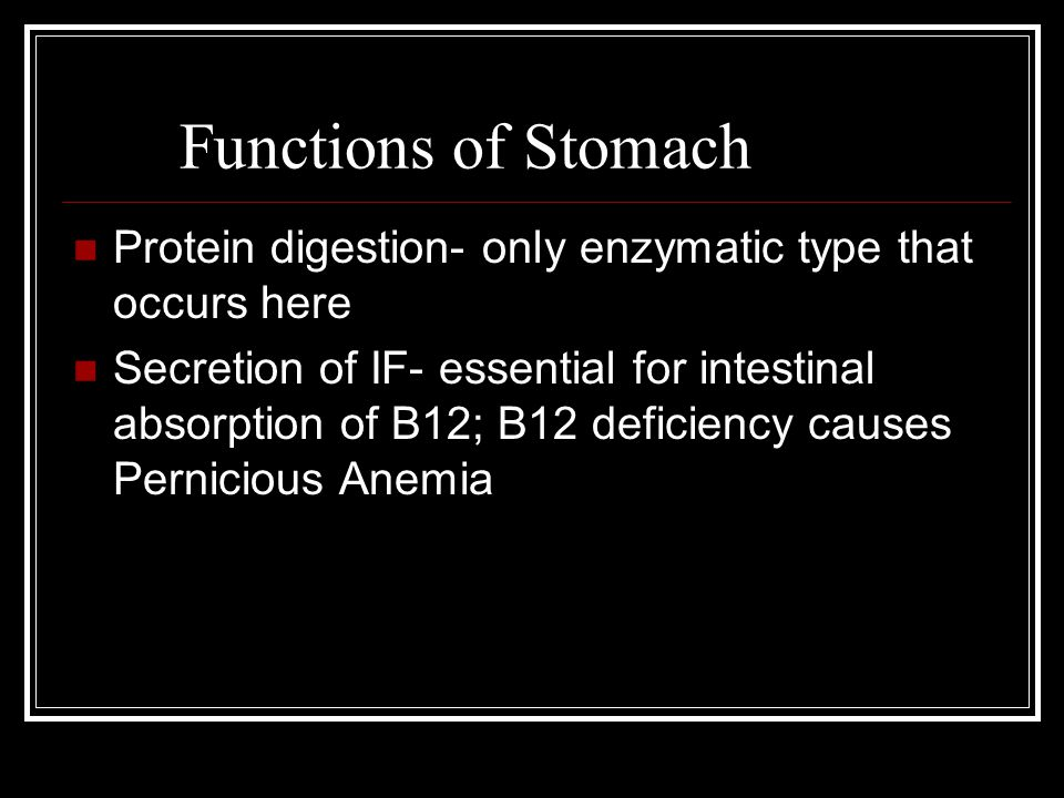 Functions of Stomach Protein digestion- only enzymatic type that occurs here Secretion of IF- essential for intestinal absorption of B12; B12 deficiency causes Pernicious Anemia