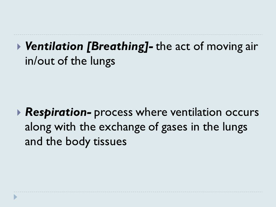  Ventilation [Breathing]- the act of moving air in/out of the lungs  Respiration- process where ventilation occurs along with the exchange of gases in the lungs and the body tissues