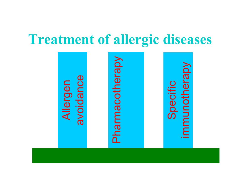 Treatment of allergic diseases Allergen avoidance Pharmacotherapy Specific immunotherapy