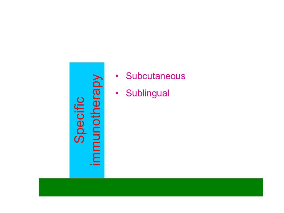 Specific immunotherapy Subcutaneous Sublingual