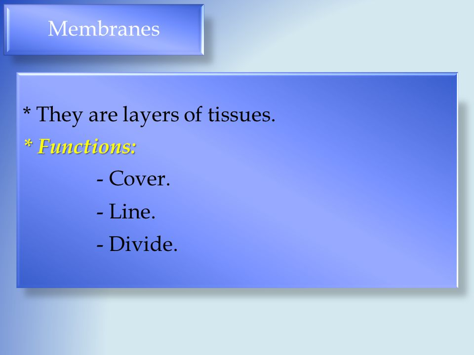Membranes * They are layers of tissues. * Functions: - Cover. - Line. - Divide.