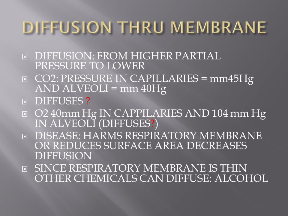  DIFFUSION: FROM HIGHER PARTIAL PRESSURE TO LOWER  CO2: PRESSURE IN CAPILLARIES = mm45Hg AND ALVEOLI = mm 40Hg  DIFFUSES ?  O2 40mm Hg IN CAPPILAR