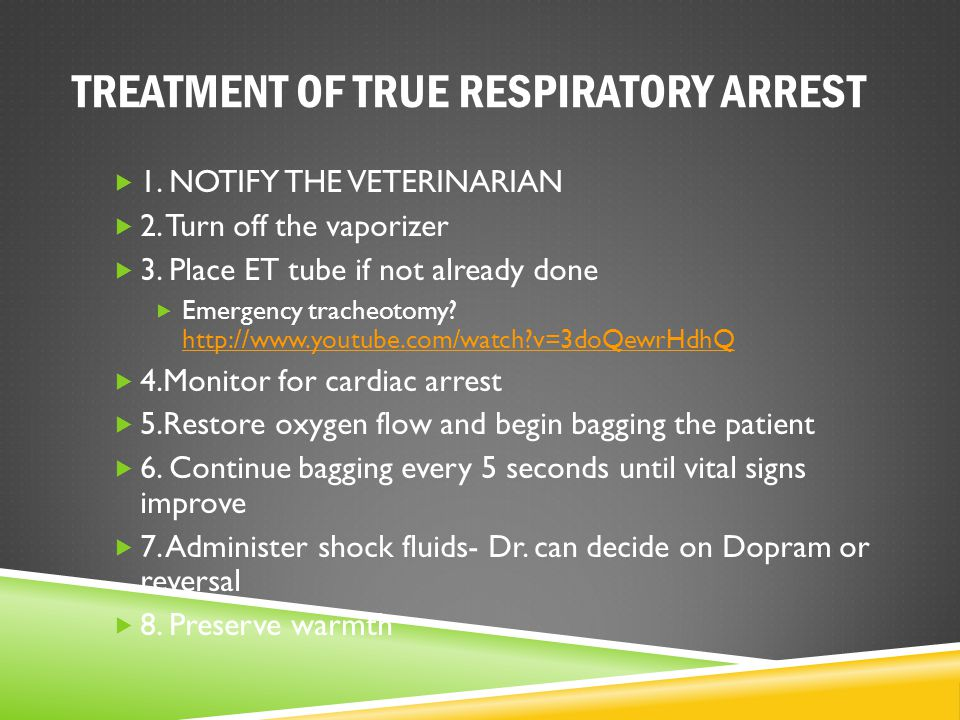TREATMENT OF TRUE RESPIRATORY ARREST  1. NOTIFY THE VETERINARIAN  2. Turn off the vaporizer  3. Place ET tube if not already done  Emergency trach