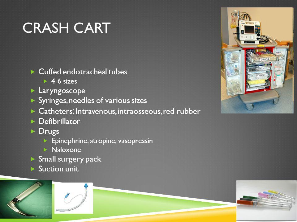 CRASH CART  Cuffed endotracheal tubes  4-6 sizes  Laryngoscope  Syringes, needles of various sizes  Catheters : Intravenous, intraosseous, red ru