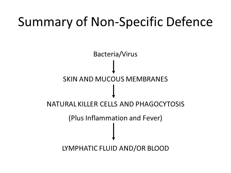 Summary of Non-Specific Defence Bacteria/Virus SKIN AND MUCOUS MEMBRANES NATURAL KILLER CELLS AND PHAGOCYTOSIS (Plus Inflammation and Fever) LYMPHATIC