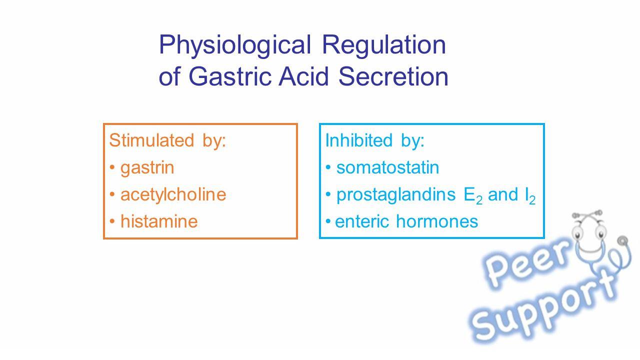 Physiological Regulation of Gastric Acid Secretion Stimulated by: gastrin acetylcholine histamine Inhibited by: somatostatin prostaglandins E 2 and I 2 enteric hormones