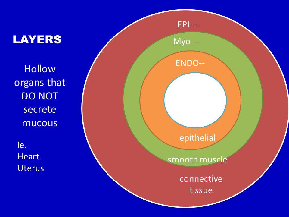 LUMEN ENDO-- Myo---- EPI--- LAYERS Hollow organs that DO NOT secrete mucous epithelial smooth muscle connective tissue ie. Heart Uterus