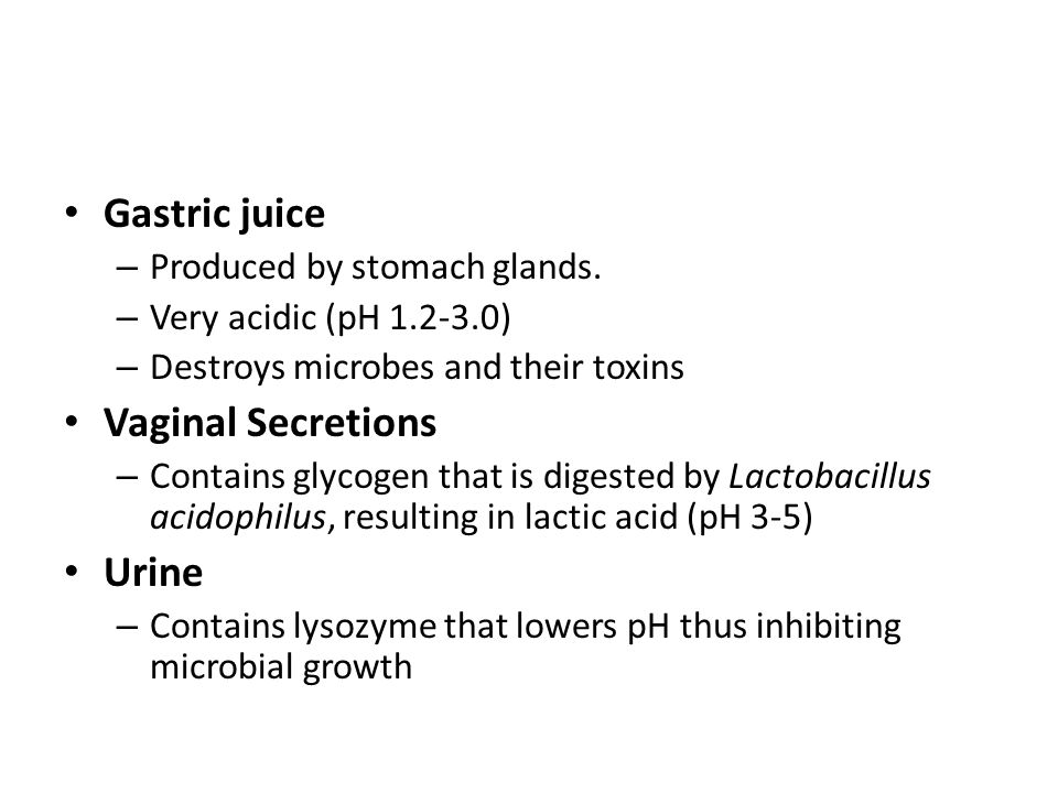 Gastric juice – Produced by stomach glands.
