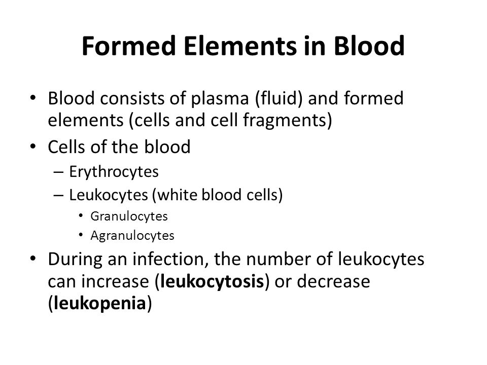 Formed Elements in Blood Blood consists of plasma (fluid) and formed elements (cells and cell fragments) Cells of the blood – Erythrocytes – Leukocytes (white blood cells) Granulocytes Agranulocytes During an infection, the number of leukocytes can increase (leukocytosis) or decrease (leukopenia)
