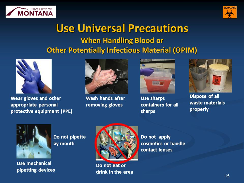 Use Universal Precautions When Handling Blood or Other Potentially Infectious Material (OPIM) 15 Use sharps containers for all sharps Wear gloves and other appropriate personal protective equipment (PPE) Wash hands after removing gloves Dispose of all waste materials properly Use mechanical pipetting devices Do not eat or drink in the area Do not apply cosmetics or handle contact lenses Do not pipette by mouth