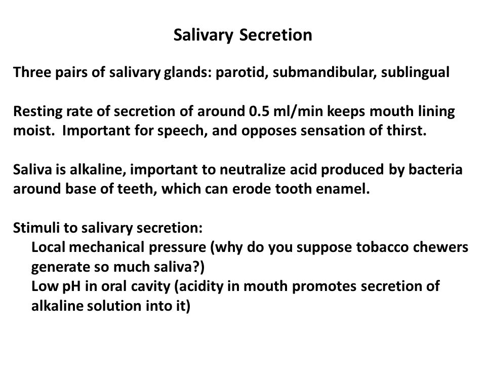 Salivary Secretion Three pairs of salivary glands: parotid, submandibular, sublingual Resting rate of secretion of around 0.5 ml/min keeps mouth lining moist.