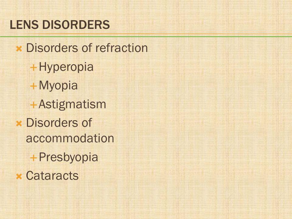 LENS DISORDERS  Disorders of refraction  Hyperopia  Myopia  Astigmatism  Disorders of accommodation  Presbyopia  Cataracts
