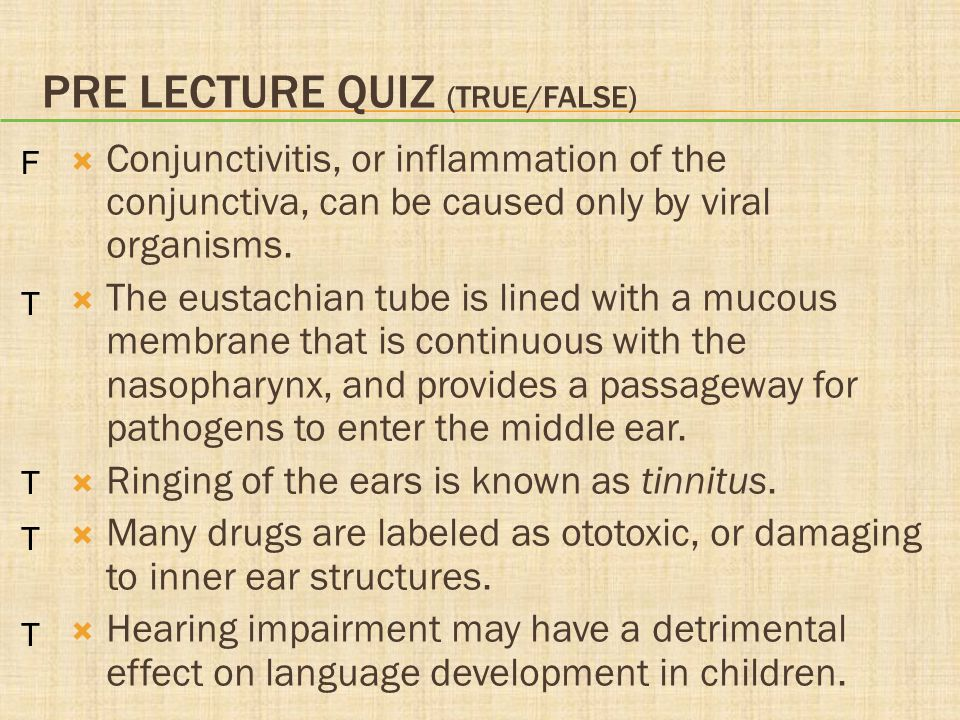 PRE LECTURE QUIZ (TRUE/FALSE)  Conjunctivitis, or inflammation of the conjunctiva, can be caused only by viral organisms.  The eustachian tube is li