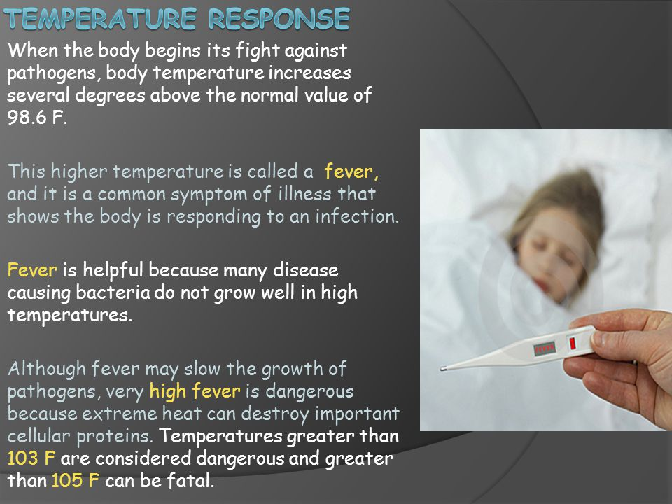 When the body begins its fight against pathogens, body temperature increases several degrees above the normal value of 98.6 F.