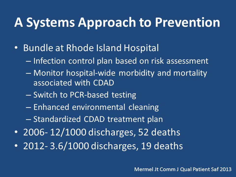 A Systems Approach to Prevention Bundle at Rhode Island Hospital – Infection control plan based on risk assessment – Monitor hospital-wide morbidity and mortality associated with CDAD – Switch to PCR-based testing – Enhanced environmental cleaning – Standardized CDAD treatment plan 2006- 12/1000 discharges, 52 deaths 2012- 3.6/1000 discharges, 19 deaths Mermel Jt Comm J Qual Patient Saf 2013