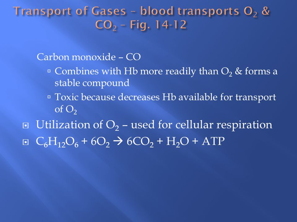 Carbon monoxide – CO  Combines with Hb more readily than O 2 & forms a stable compound  Toxic because decreases Hb available for transport of O 2  Utilization of O 2 – used for cellular respiration  C 6 H 12 O 6 + 6O 2  6CO 2 + H 2 O + ATP