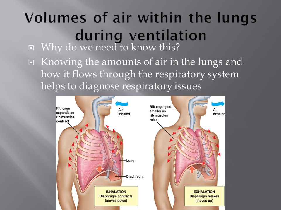  Why do we need to know this?  Knowing the amounts of air in the lungs and how it flows through the respiratory system helps to diagnose respiratory