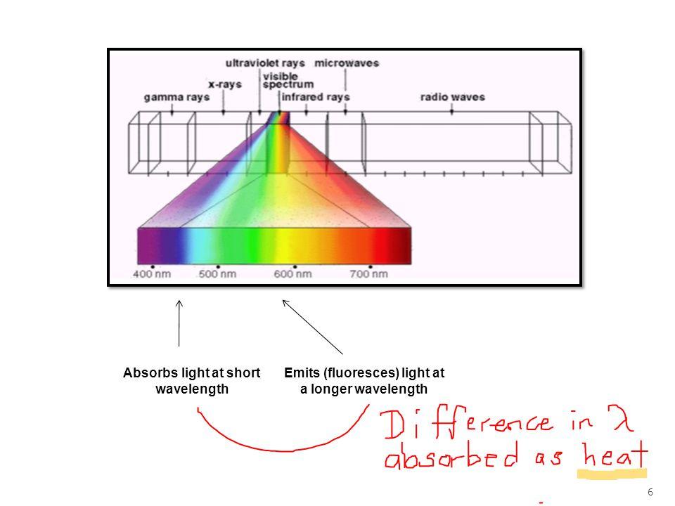 6 Absorbs light at short wavelength Emits (fluoresces) light at a longer wavelength