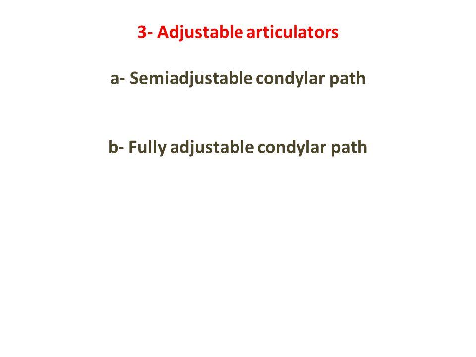 3- Adjustable articulators a- Semiadjustable condylar path b- Fully adjustable condylar path