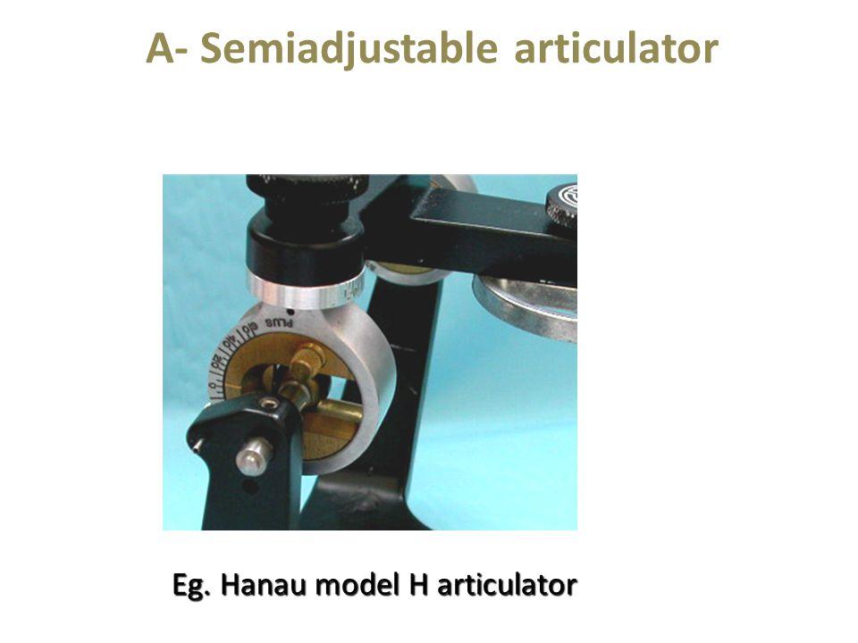 A- Semiadjustable articulator Eg. Hanau model H articulator