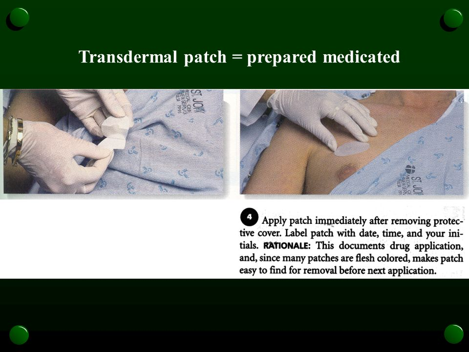 Transdermal patch = prepared medicated