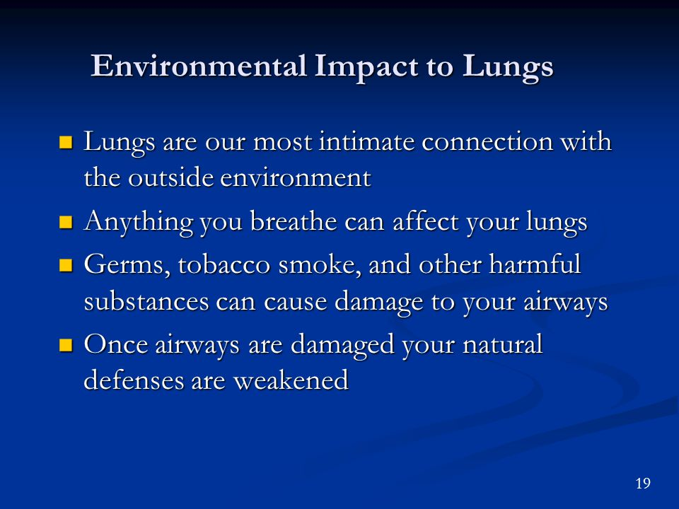19 Environmental Impact to Lungs Lungs are our most intimate connection with the outside environment Lungs are our most intimate connection with the outside environment Anything you breathe can affect your lungs Anything you breathe can affect your lungs Germs, tobacco smoke, and other harmful substances can cause damage to your airways Germs, tobacco smoke, and other harmful substances can cause damage to your airways Once airways are damaged your natural defenses are weakened Once airways are damaged your natural defenses are weakened