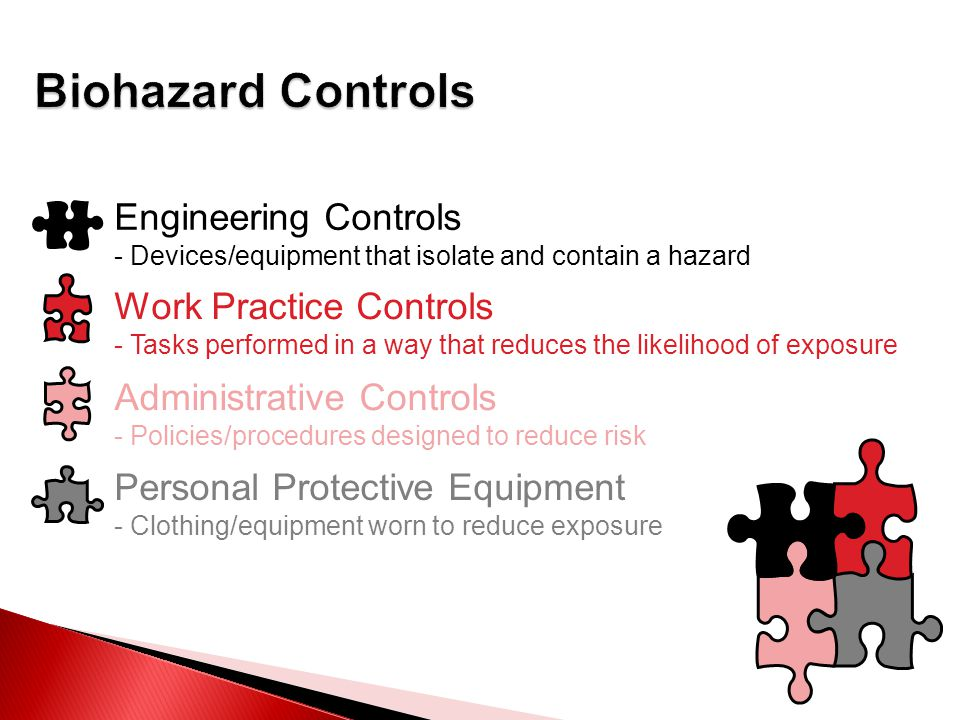 Engineering Controls - Devices/equipment that isolate and contain a hazard Work Practice Controls - Tasks performed in a way that reduces the likelihood of exposure Administrative Controls - Policies/procedures designed to reduce risk Personal Protective Equipment - Clothing/equipment worn to reduce exposure