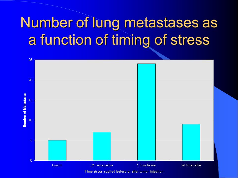 Number of lung metastases as a function of timing of stress