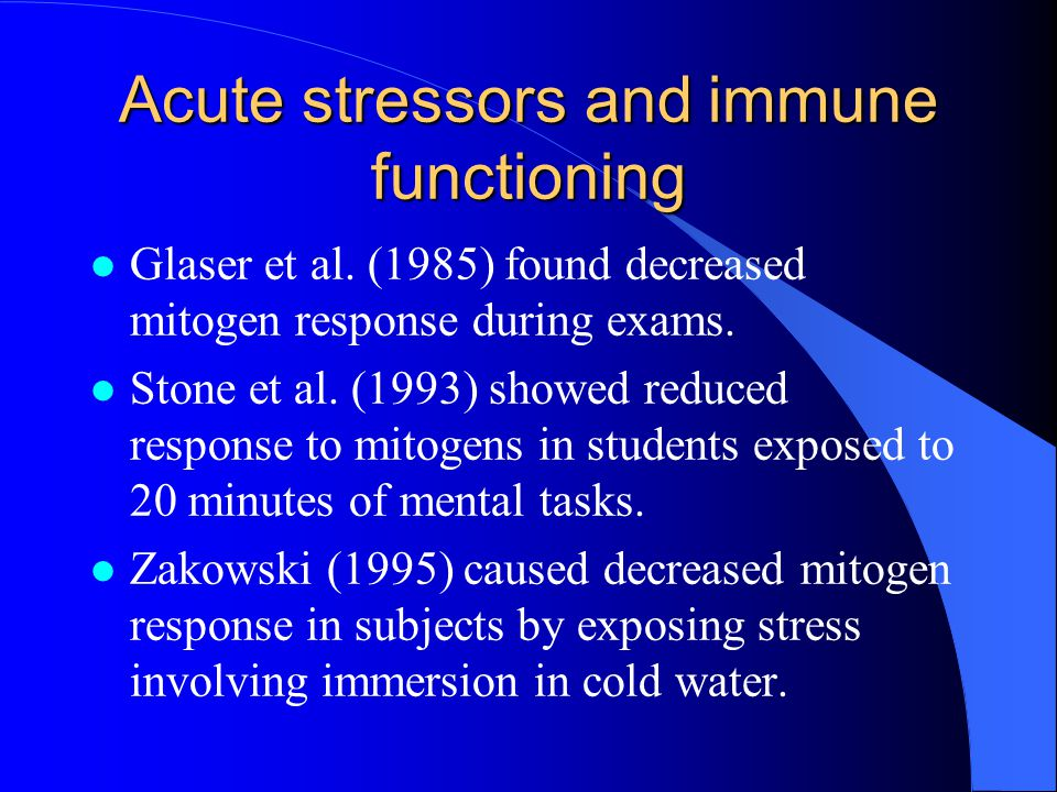 Acute stressors and immune functioning l Glaser et al.