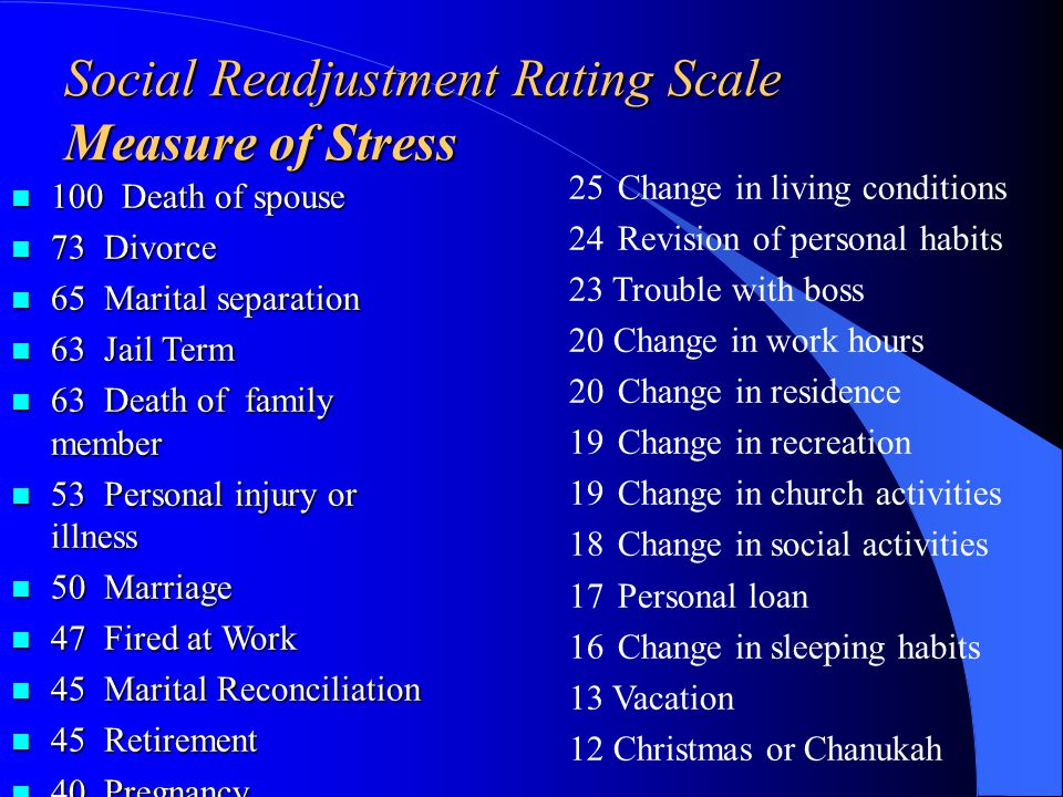 More stress=more illness Percent of people with illness