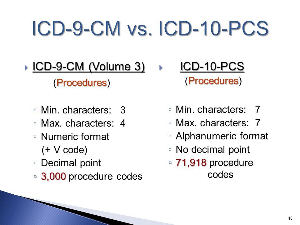  ICD-9-CM (Volume 3) Procedures (Procedures) ◦ Min.