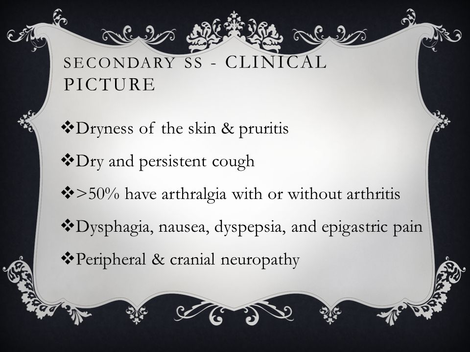 SJÖGREN SYNDROME - DIAGNOSIS  Different diagnostic criteria 1.Objective measurement of decreased salivary & lacrimal gland function 2.+ve autoimmune serologies 3.Minor salivary gland biopsy Lymphocytic infiltration 4.Silagoraphy is also useful