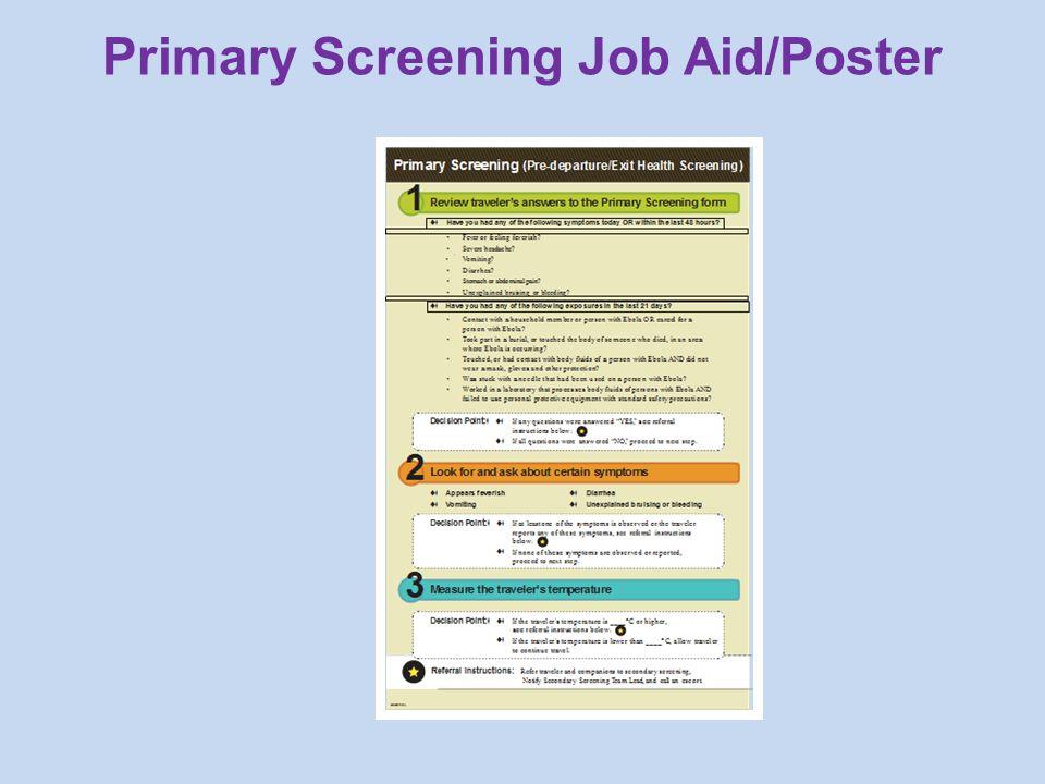 Primary Screening Job Aid/Poster