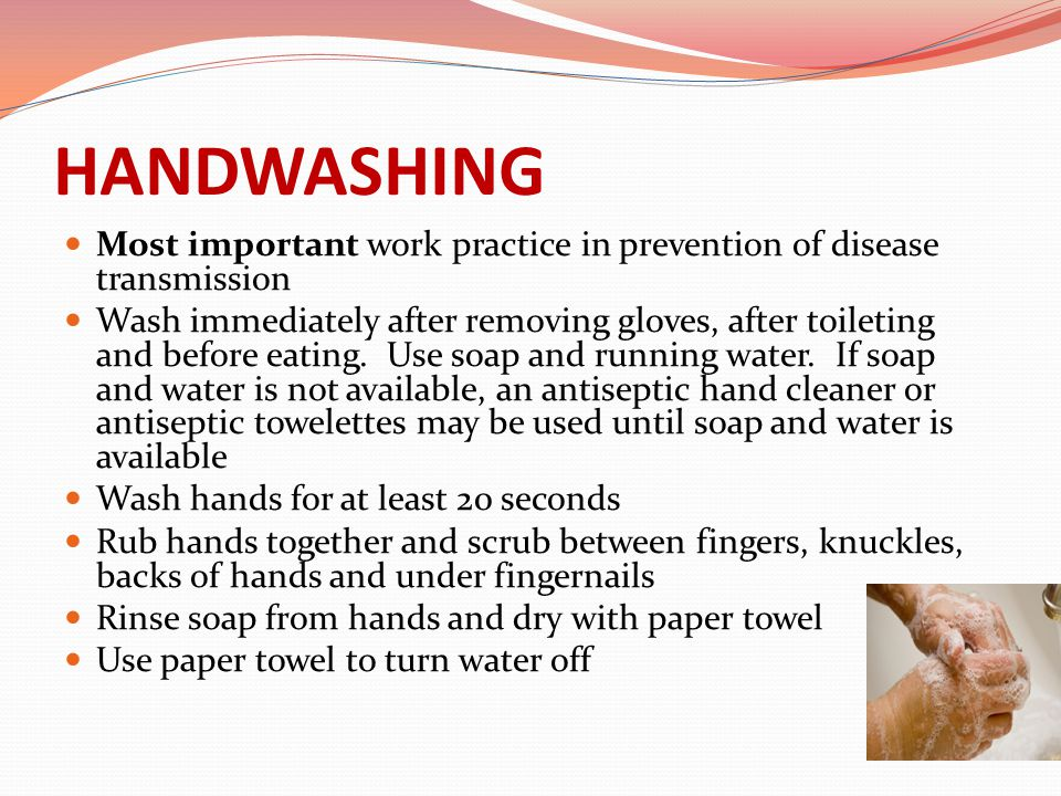 HANDWASHING Most important work practice in prevention of disease transmission Wash immediately after removing gloves, after toileting and before eati