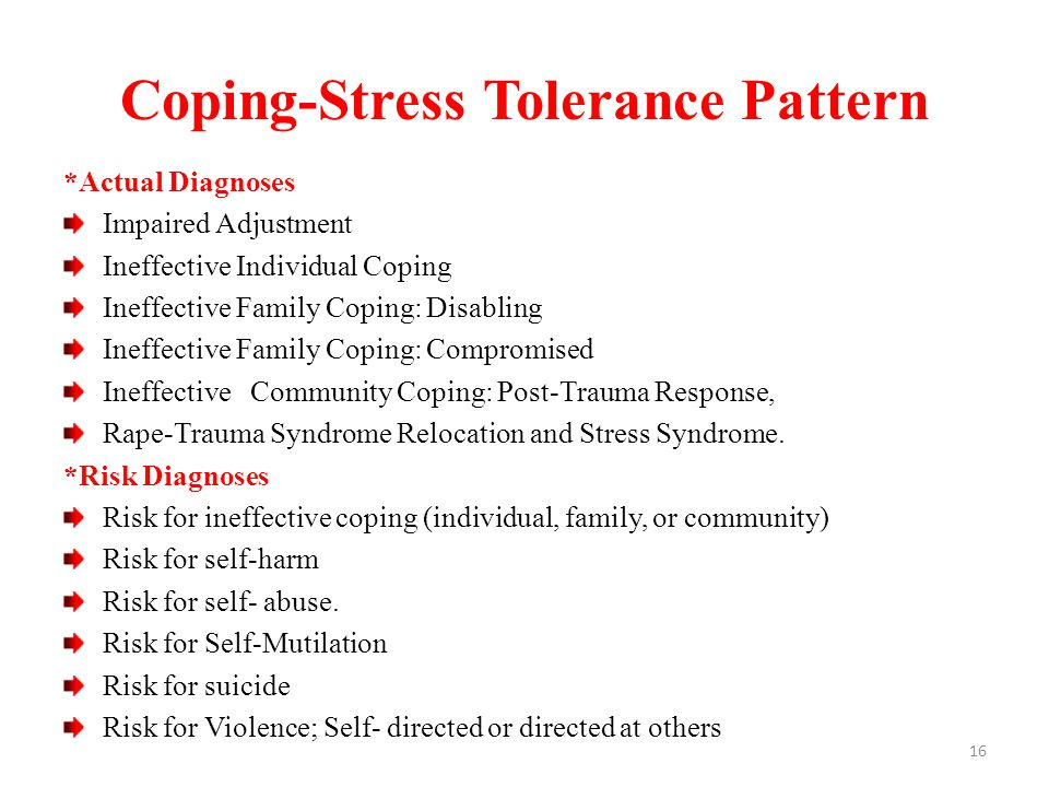Coping-Stress Tolerance Pattern *Actual Diagnoses Impaired Adjustment Ineffective Individual Coping Ineffective Family Coping: Disabling Ineffective Family Coping: Compromised Ineffective Community Coping: Post-Trauma Response, Rape-Trauma Syndrome Relocation and Stress Syndrome.