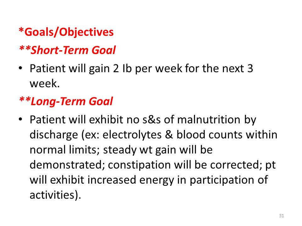 *Goals/Objectives **Short-Term Goal Patient will gain 2 Ib per week for the next 3 week.