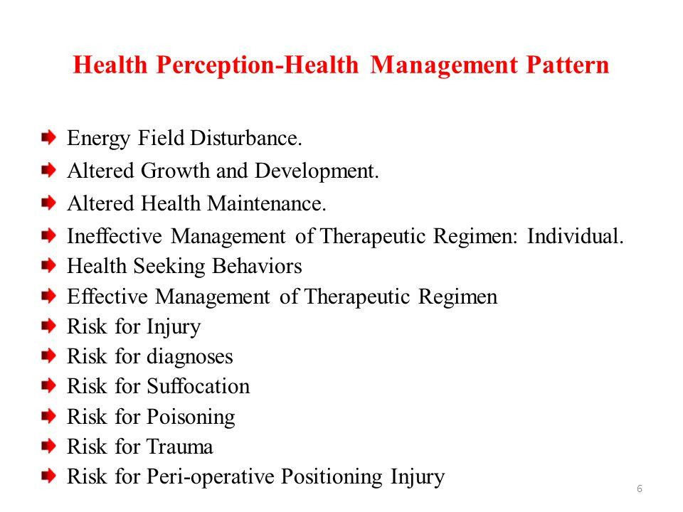 Health Perception-Health Management Pattern Energy Field Disturbance.