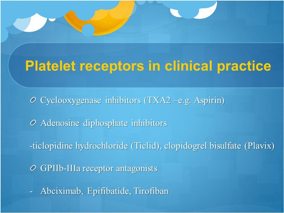 Platelet receptors in clinical practice Cyclooxygenase inhibitors (TXA2 –e.g.