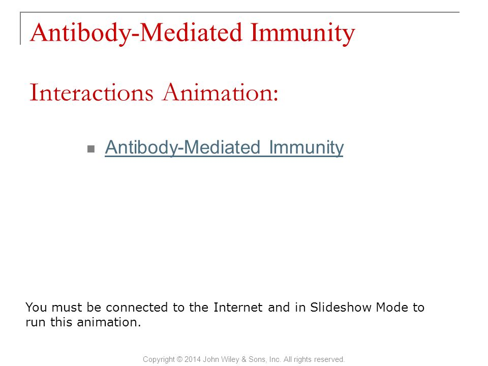 Antibody-Mediated Immunity Copyright © 2014 John Wiley & Sons, Inc. All rights reserved. Antibody-Mediated Immunity Interactions Animation: You must b