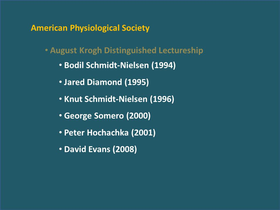 American Physiological Society August Krogh Distinguished Lectureship Bodil Schmidt-Nielsen (1994) Jared Diamond (1995) Knut Schmidt-Nielsen (1996) Ge