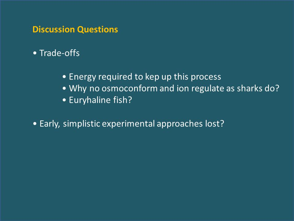 Discussion Questions Trade-offs Energy required to kep up this process Why no osmoconform and ion regulate as sharks do? Euryhaline fish? Early, simpl